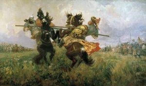 Поединок Пересвета с Челубеем на Куликовом поле, Авилов М. 1943 г.