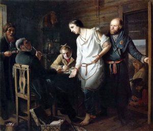 Приезд станового на следствие 1857 г. Третьяковская галерея
