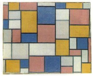 Композиция с цветными плоскостями и серыми линиями 1918 г.