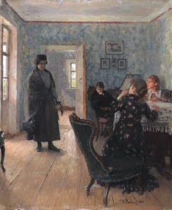 «Не ждали» первый вариант картины, 1883 г.