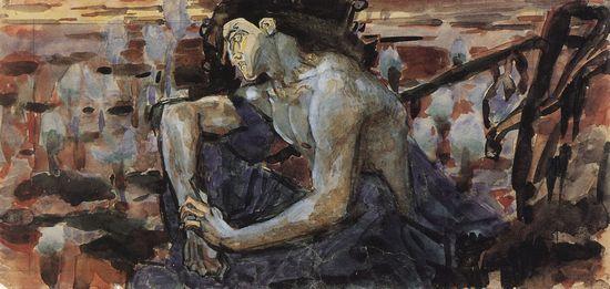 Демон сидящий 1890 г. Эскиз картины