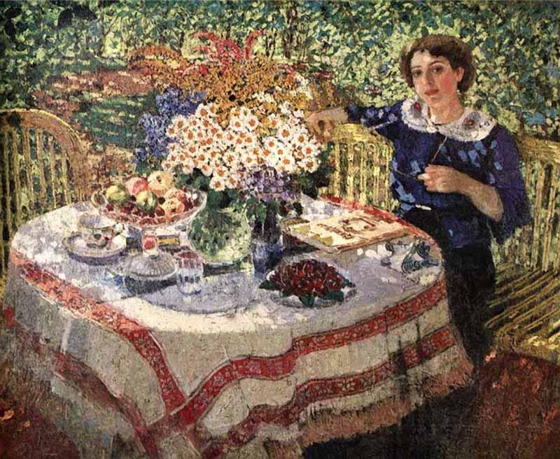В саду. Портрет Нины Гиляровской 1913 г.